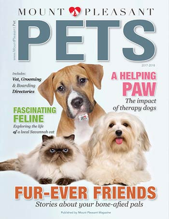 Mount Pleasant Pets 2018 magazine cover - dogs, cats, bird plus other pets in Charleston and Mount Pleasant, SC